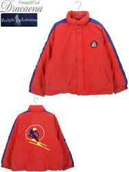 Used 1990's Cookie Patch And Downhill Skier Down Jacket L Size