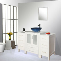 48 Bathroom White Vanity Vessel W/small Cabinet Sink Faucet Mirror Table Combo