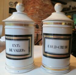 Pair Stunning Antique French Ceramic Apothecary Jars For Cold Cream And Valerian