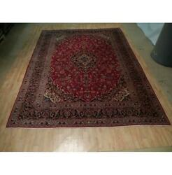 10x13 Authentic Hand Knotted Semi-antique Wool Rug Red B-73109