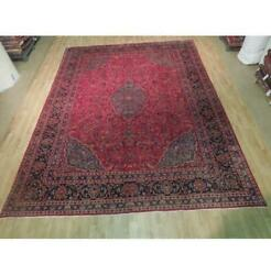 10x13 Authentic Hand Knotted Semi-antique Wool Rug Red B-73893
