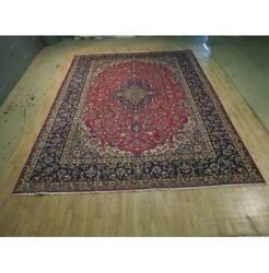 10x13 Authentic Hand Knotted Semi-antique Wool Rug Red B-74438