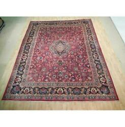 10x12 Classic Hand Knotted Semi-antique Wool Rug Burgundy Red Blue B-72870