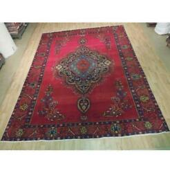9x13 Authentic Hand Knotted Antique Wool Worn Rug Red B-74422