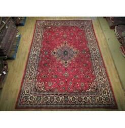 9x13 Hand Knotted Repaired Semi-antique Wool Rug Red B-74848