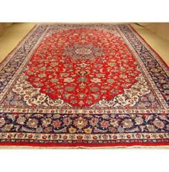 10x15 Authentic Hand-knotted Oriental Wool And Silk Rug Red S10-3985