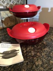New Tupperware Heat N Serve Round Microwaveable Container Red/ 0.7 L- Rare