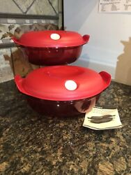 Tupperware Heat 'n Serve Oval Container Red 8 1/4 Cups / 2l / Crystal Pop New