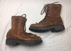 Menandrsquos Wolverine W08394 Boots Mens Size 7 Made In Usa Moc Toe Lace Up Used