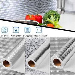 Kitchen Oil proof Aluminum Foil Wall Stickers Self Adhesive Waterproof Wallpaper
