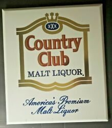 Vintage Country Club Malt Liquor Beer Metal Sign 13 X 15 Pearl Brewing Co.