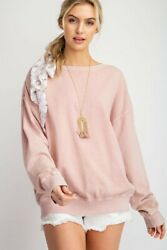 Easel Washed Cotton Blend Long Sleeve Top
