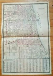 Antique Hand Colored Map - Chicago - 1880 Mitchell's New General Atlas