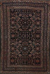 Pre-1900 Vegetable Dye Floral Lilian Area Rug Hand-knotted Oriental Carpet 5x6