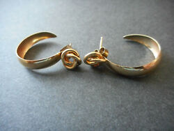 Vintage 14k Yellow Gold Hoop Earrings With Attached Decor