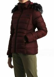 The North Face Gotham II Faux Fur Hooded Jacket Deep Garnet Red Women Size S New $139.99