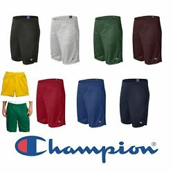 Champion Men#x27;s Long Mesh Short with Pockets 9 Inch Athletic Gym Shorts S162 $12.90