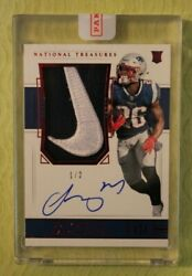 2018 National Treasures Sony Michel Rookie Patch Auto Nike Rpa 'd 1/2 Patriots