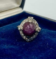 Art Deco 6 Carat Natural Star Ruby Diamond Halo Ring 14k Gold Appraised 3660