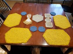 Vintage Hand Crocheted Doily Table Place Mats, Coasters, Hot Pads Multi-colored