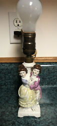 Vintage Porcelain Victorian Couple Figurine Lamp Base Made In Germany Numbered