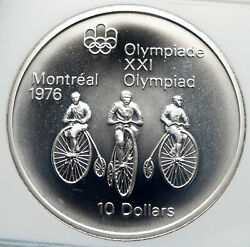 1974 Canada Queen Elizabeth Ii Olympics Montreal Cycle Silver 10 Coin Ngc I85362