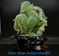 18 Chinese Natural Xiu Jade Jadeite Carved Zodiac Year Rooster Cock Sculpture