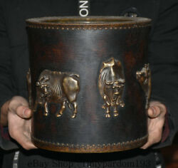 9 Guangxu Marked Old Wood Inlay Bronze Dynasty Cattle Ox Brush Pot Pencil Vase