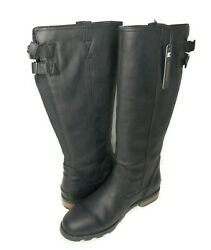 SOREL Emelie Womens Size 12 Tall Premium Black Leather Equestrian Riding Boots $189.99