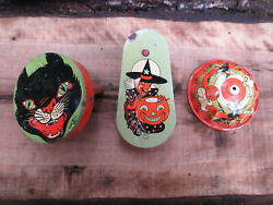Vintage 1940's T. Cohn Holloween Noise Makers Tin Toy Black Cat Witch Pumpkin