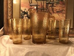 Vintage Libbey Bark Amber Yellow Gold Pitcher And Five Tumblers