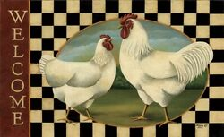 New Primitive Country Farmhouse Hen Rooster WHITE CHICKEN WELCOME MAT Floor Rug