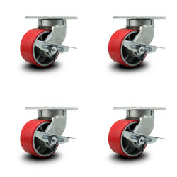 """6"""" Extra Heavy Duty Red Poly On Cast Iron Caster Set-swvl Casters W/brakes-set 4"""
