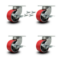 """6"""" Extra Heavy Duty Red Poly On Cast Iron Caster-swivel Casters W/brkandbsl-set 4"""