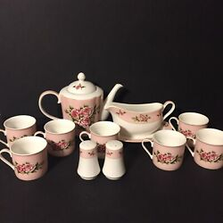 Lynns Fine China Pink And White Roses Tea Set Gravy Dish S And P Shakers