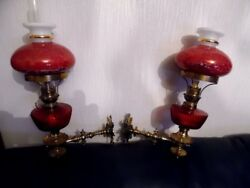 A Pair Of Victorian Oil Lamps And Shades