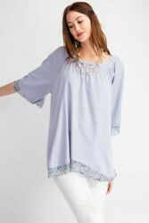 Easel Faded Blue Floral Trim Short Sleeve Knit Tunic Top Size S