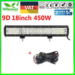9d 18inch 450w Quad Row Led Light Bar For Truck Car Off Road Suv 4wd +harness