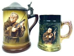 Manning Bowman Antique Lidded Beer Stein + Victoria Carlsbad Cup Monk Violin