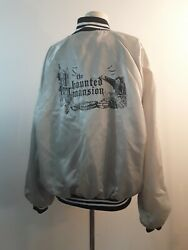 Vintage Rare The Haunted Mansion Satin Jacket Silver And Black Large Hartwell
