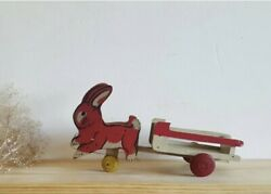 Antique Red White Wood Bunny Rabbit Pulling Wagon Pull Children's Toy Easter