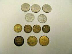Republique Francaise 1, 10, 20 Centimes French France Coins, 12 In All