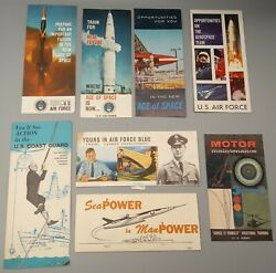 Vintage Air Force, Army, Coast Guard Recruiter And Army Motor Training Brochures