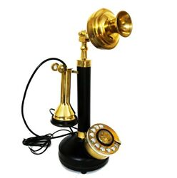 Antique Candle Stick Phone Brass Rotary Dial Wire Telephone Vintage Home Decor