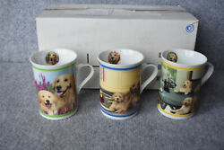 New Danbury Mint Set Of 3 Gorgeous Goldens Porcelain Collector Mugs With Box Nib