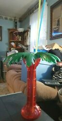 Novelty Palm Tree Plastic Drinking Container Removable Palm Leaves Lid