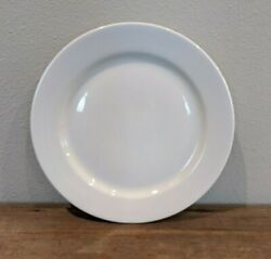 Crate And Barrel White Round Wide Rimmed Dinner Plates 12 Made In Poland