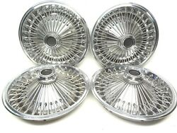 Plymouth Set 4 Wire Spoke Wheel Covers 14 Hubcaps 1970and039s Chrysler Dodge Hub Cap