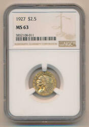 1927 2.5 Gold Indian. Ngc Ms63