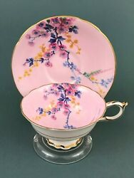 Rare Vtg Paragon Mary And Queen Plum Blossom Pink Footed Tea Cup Saucer Gold Trim
